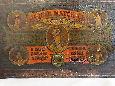 Racist 19thC Antique BLACK INDIAN Asia LADY BARBER RACE MATCH TIN Advertsing BOX