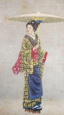 Antique Japanese Geisha Miniature painting Hand Painted on Silk Christmas Card?
