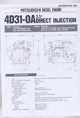 1983 Mitsubishi 4D31-OA 3.3 Direct Injection Diesel Engine Brochure wy8619