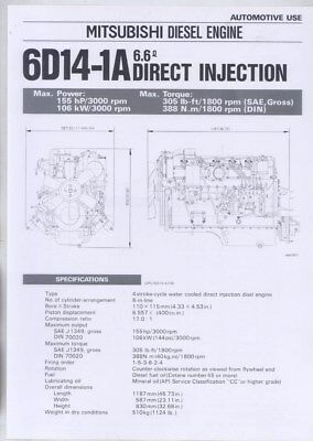 1983 Mitsubishi 6D14-1A 6.6 Direct Injection Diesel Engine Brochure wy8621