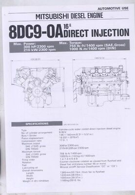 1983 8DC9-OA 16 Direct Injection Mitsubishi Diesel Engine Brochure wy8628