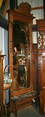 TALL Oak Beveled Pier Mirror Black & White Marble Ledge 4 Hall Bedroom Antique