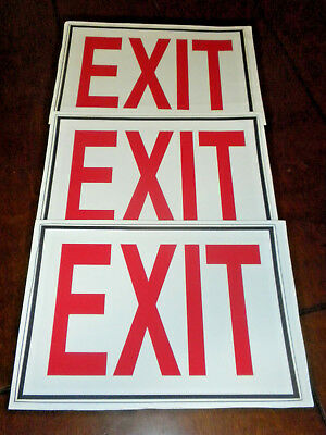 Set of 3 New Self-Adhesive Exit Signs 7 Inches by 10 Inches Decal Stickers
