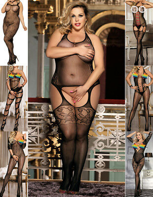 Sexy Women Crotchless Open-bust Fishnet Bodystocking Bodysuit Teddy Lingerie