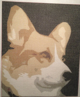 "Needlepoint canvas ""Brave Corgi"" #D2"