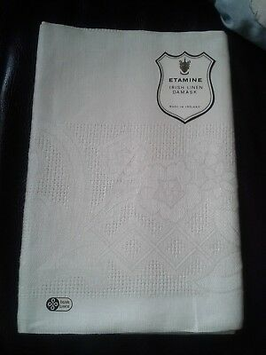 Etamine Irish Linen Damask Tablecloth