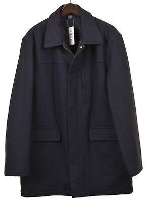 J. Crew Navy Blue Flannel Wool Quilted Insulated Walking Car Over Coat Jacket XL
