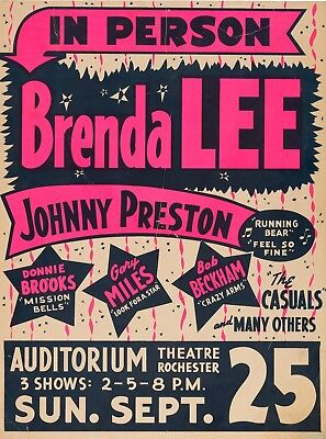 "Brenda Lee Rochester 16"" x 12"" Photo Repro Concert Poster"