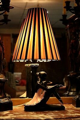 Original Deco Vintage Black Lady Lamp.  Electrics Tested/compliant. Great Cond.