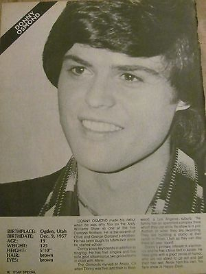 Donny Osmond, Osmonds Brothers, Valerie Bertinelli, Full Page Vintage Clipping