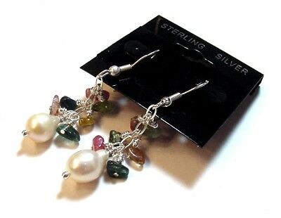 Beautiful Fancy 925 Sterling Silver Raw Tourmaline & Pearl Dangle Earrings F29