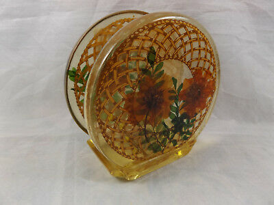 Retro Vintage Acrylic Lucite Serviette Napkin Holder Real Flowers Made in USA