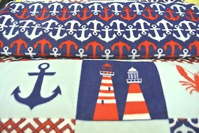 Lighthouse Anchor Shells Baby Blanket Double Sided Can Be Personalized 28x44
