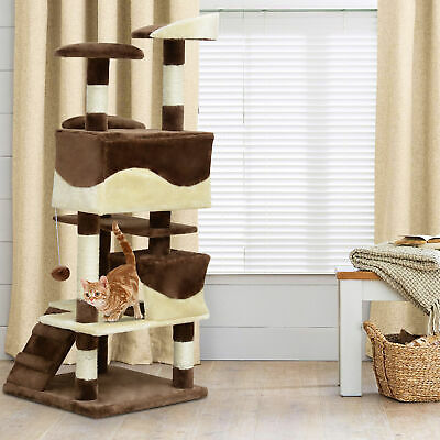 "52"" Cat Scratching Tree Large Kitten Play House Pet Multi-Level Activity Center"