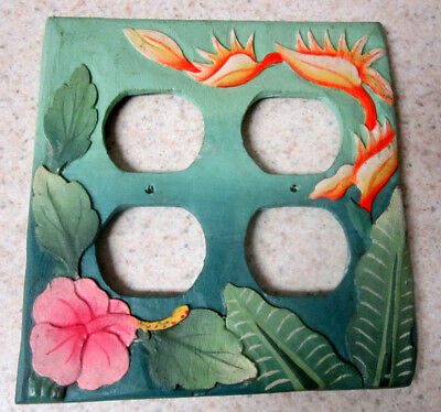 HANDCARVED HANDPAINTED WOOD Hibiscus & Bird Of Paradise Outlet Cover Plate Maui
