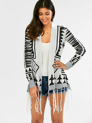 Women Tassel Casual Geometric Sweater Boho Gypsy Coat Knitted Cardigan Outwear