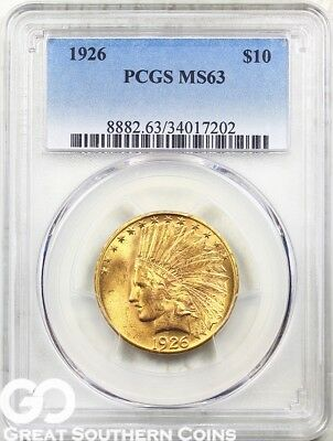 1926 PCGS Gold Eagle, $10 Gold Indian PCGS MS 63 ** Great Look, Lustrous Beauty!