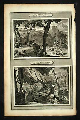 BIBLE Cain tue Abel , Adam died at 930 years ENGRAVING Print antique Mortar 1700