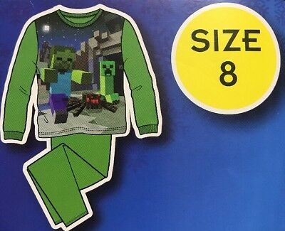 Boy's New Size 8 Minecraft Pajamas 2pc flannel sleepwear Green