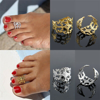 Adjustable Women Lady Bohemia Gold Silver Metal Toe Ring Foot Beach Jewelry Gift