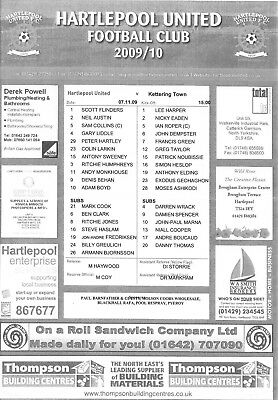 2009/10 TEAM SHEET HARTLEPOOL UNITED v KETTERING 3 NOVEMBER 2009 F A CUP 1 Round