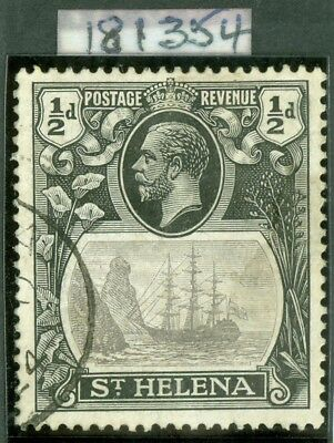 SG 97b St Helena 1922-37 ½d grey & black variety torn flag. Very fine used...