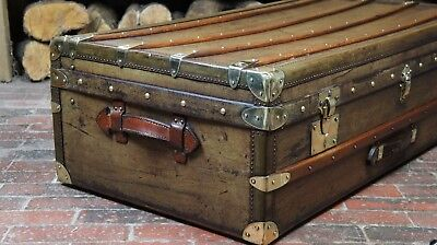 Huge Brass Bound Antique Steamer Trunk Travel Case