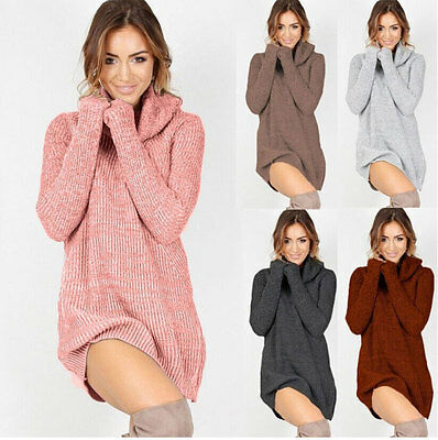 2017 Womens Cowl Neck Loose Long Sleeve Oversize Sweater Jumper Shirt Tops Dress