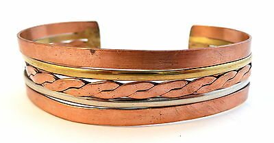 Vintage 1960s 70s Hammered Mixed Metals Copper Brass & Silver Cuff BRACELET