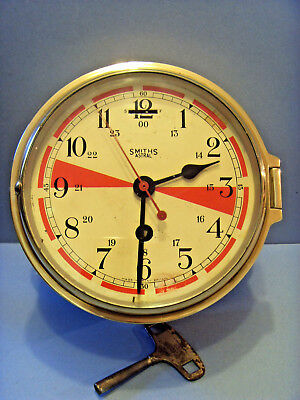 """Early Vintage 8 Day """"smith's"""" Astral Ships Radio Room Clock."""