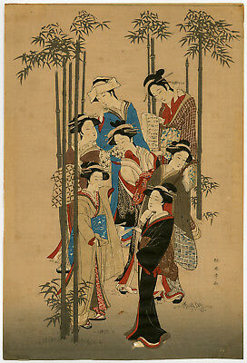 Japanese Antique Print-GEISHAS-BAMBOO-Anonymous-c.1900