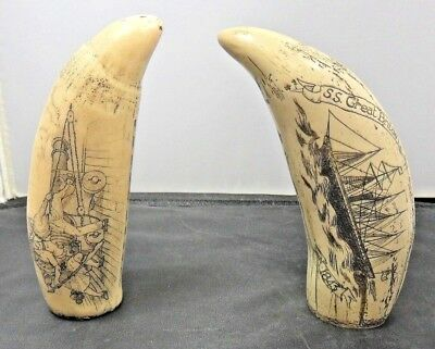 Pair of Repro Scrimshaw Teeth/Tusks - SS Great Britain/Glorious 1st June 1794