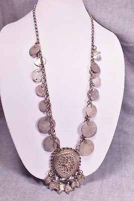 """EXOTIC ANTIQUE BEDOUIN  PERSIAN SILVER ARAB COIN  Necklace CRESCENT MOON 32"""""""