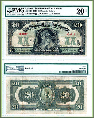 NO RESERVE AUCTION!  RARE 1919 $20 Standard Bank of Canada PMG VF20, CV $5500