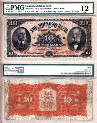 NO RESERVE AUCTION: The Molsons Bank, Scarce 1918 $10. PMG Fine 12.  CV=$2000