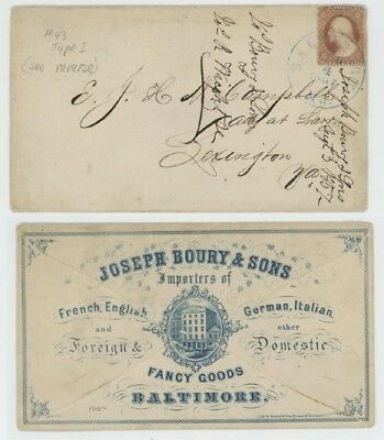 Mr Fancy Cancel 25 3c TYPE I ILLUSTRATED AD COVER FANCY GOOD BALTIMORE 1857