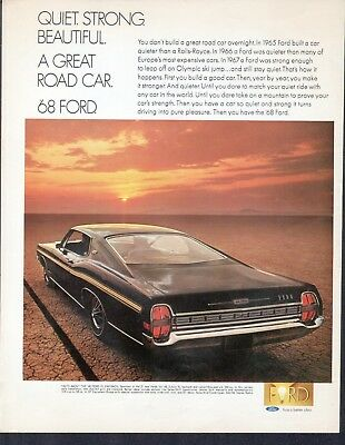 1968 Ford XL Fastback Car Ad Quiet Strong Beautiful