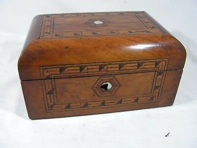 Antique Tunbridge Ware Domed Topped Walnut Jewellery / Sewing Box To Restore