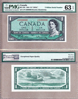NO RESERVE AUCTION: 1954 $1 Bank of Canada 5 Million Serial#  PMG CH UNC 63EPQ