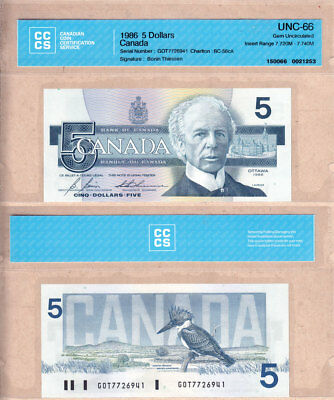 NO RESERVE AUCTION: 1986 $5 Bank of Canada Bird GOT INSERT BC-56cA CCCS GEMUNC66