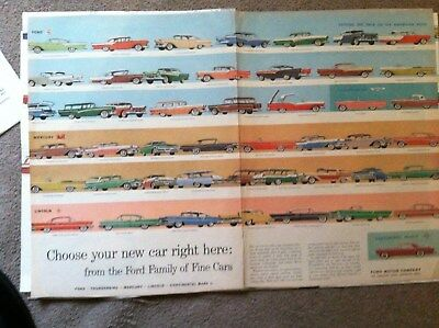 """1957  FORD  LINCOLN MERCURY CARS ALL  models 2 page 10x14"""" MAGAZINE AD"""