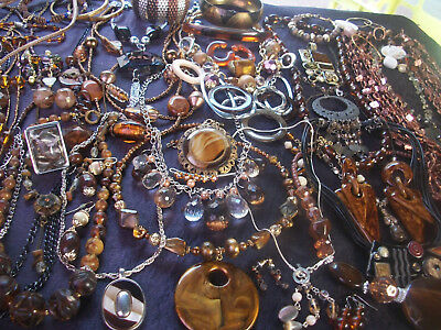 Lot Of Vintage/now Costume Jewelry Beautiful Browns, Bronzes, Copper, Nice