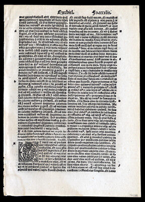 1519 Latin Bible Leaf The Prophet Ezekiel 43-44 Old Testament The Tanahk