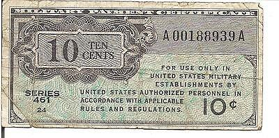 Us, 10 Cents, Military Payment Certificate, Series 461, P#m2, Nd(1946)