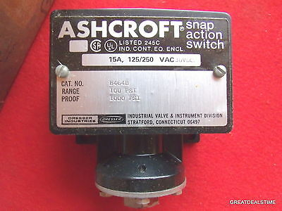 Ashcroft Snap Action Pressure Switch B464B 15A 125/250/ Vac 30Vdc 100/1000Psi