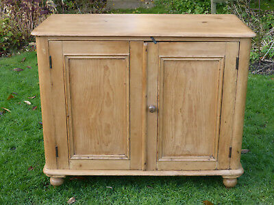 Victorian Stripped Pine Cupboard with Two Panel Doors + Shelf