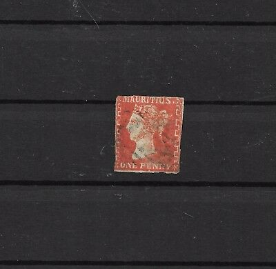 Mauritius 1d distinct red SG #41 2x margins cat £2500 (#0345b)