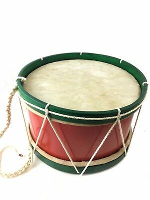 """ProKussion 12"""" Childrens Large Marching Band Drum - Red & Green"""