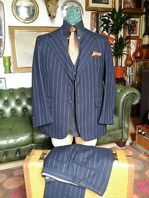 Vintage 50's 60s Dandy Burtons Wool 3 piece PinStripe Gatsby Mod Jazz Suit.Large