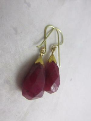 antique victorian c1890 9ct yellow Gold Ruby hand cut pendant earrings j504